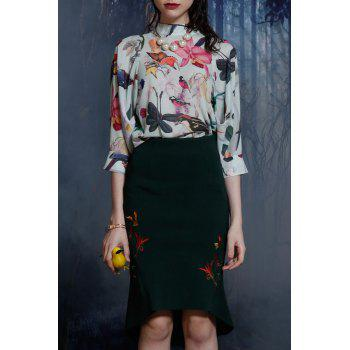 Stand Neck Floral Patterned Chiffon Blouse