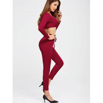 Plain Hooded Crop Top and Ninth Pants - BURGUNDY XL