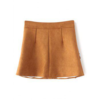 Floral Leather Patch Suede Skirt - GINGER L