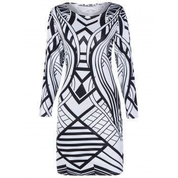 Geometric Pattern Long Sleeve Bodycon Dress