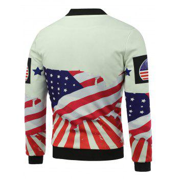 3D USA Stars and Stripes Print Stand Collar Zip Up Jacket rembourré - multicolorcolore 2XL