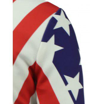 3D Stars and Stripes Print Stand Collar Zip Up Jacket rembourré - multicolorcolore L