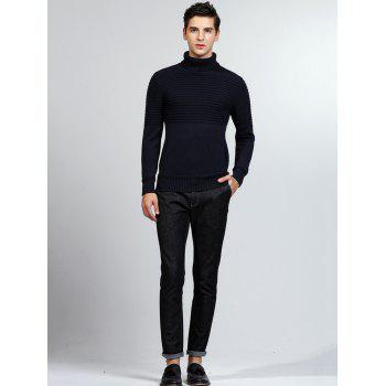 Ribbed Turtleneck Pullover Sweater - DEEP BLUE M