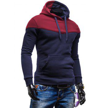 Slim-Fit Color Block Kangaroo Pocket Hoodie - CADETBLUE XL