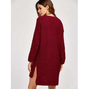 High Low Slit Sweater Dress - WINE RED ONE SIZE
