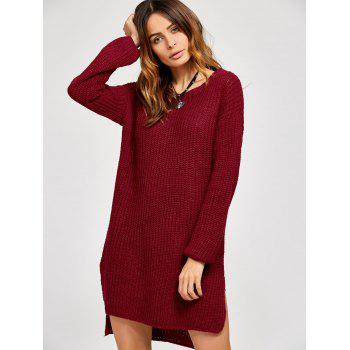 High Low Slit Sweater Dress - Rouge vineux ONE SIZE