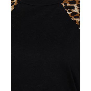 Leopard Trim High Low Sweatshirt - BLACK L