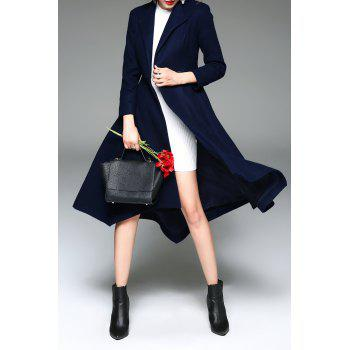 A Line Wool Blend Wrap Coat - DEEP BLUE M