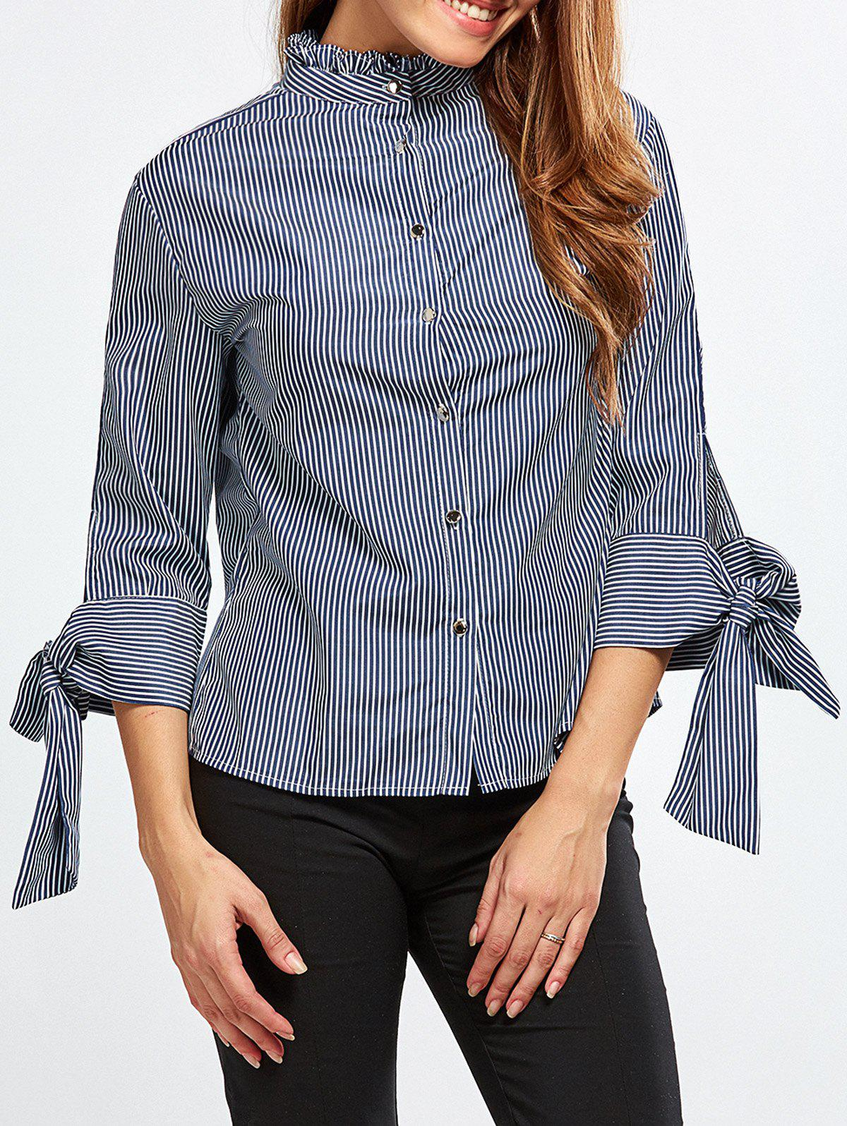 Stand Neck Striped Back Buttons BlouseWomen<br><br><br>Size: S<br>Color: BLUE AND WHITE