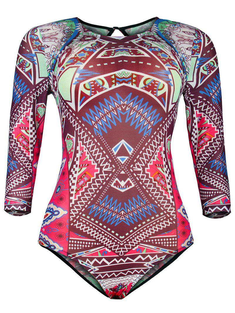 Ornate Print Hollow Out Mesh One-Piece Swimwear cut out mesh print one piece swimwear