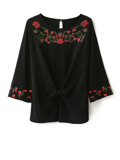 Round Neck Embroidered Front Knot BlouseWomen<br><br><br>Size: L<br>Color: BLACK