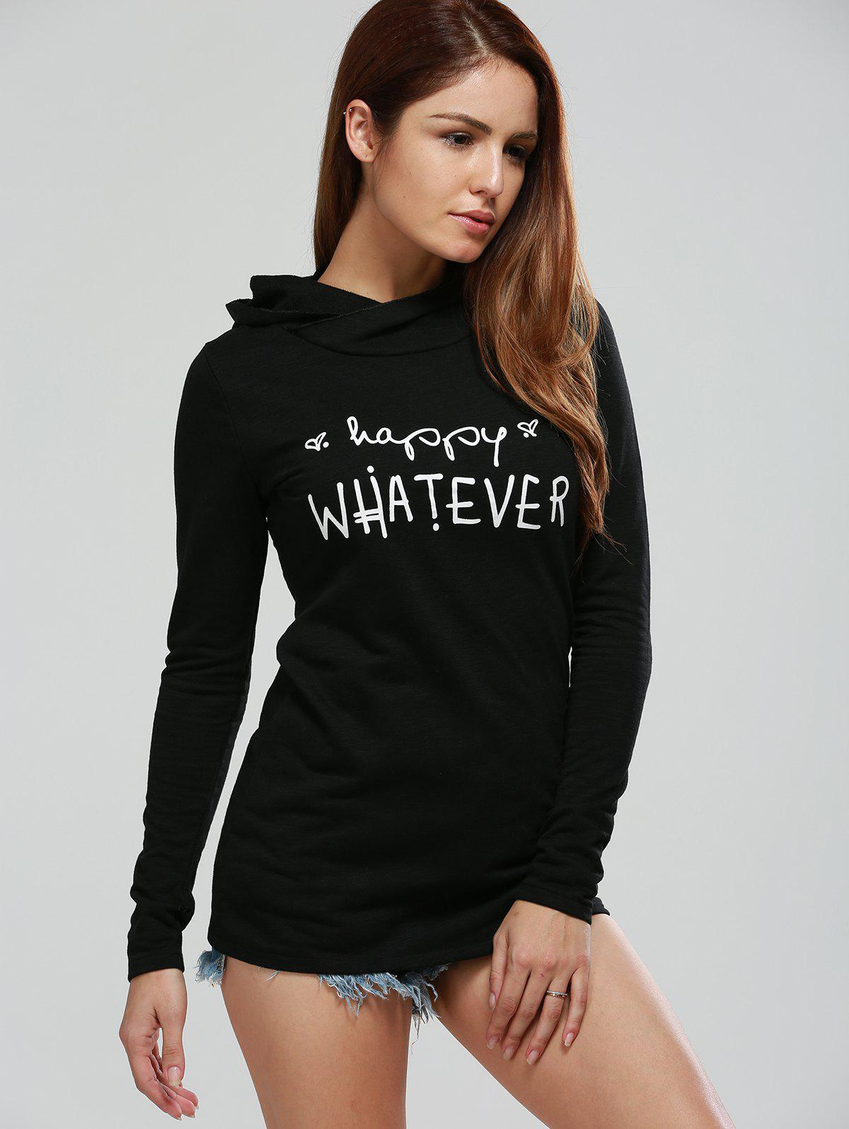 Long Sleeve Letter Print Graphic Hoodie letter graphic long tank top