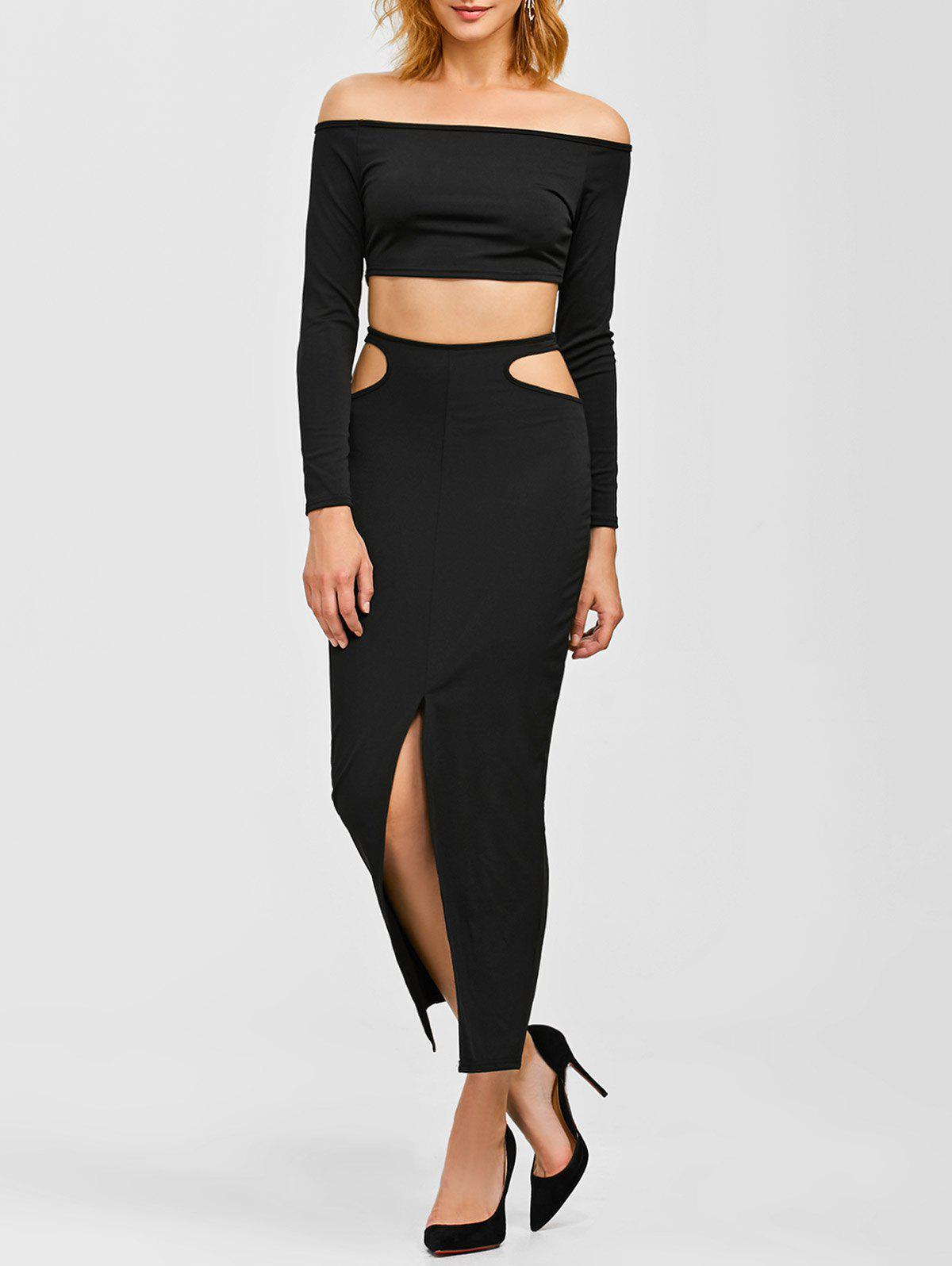 Crop Top and Front Slit Cut Out Skirt - BLACK S