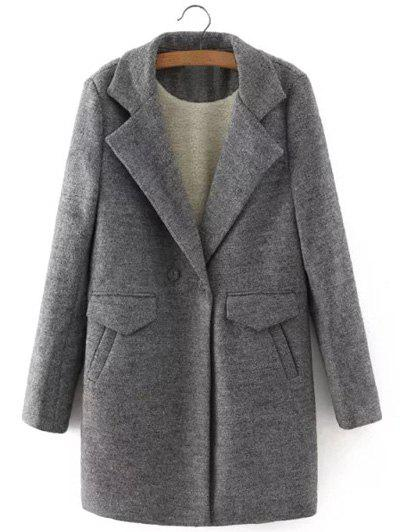 One Button Sherpa Fleece Spliced Coat - GRAY S