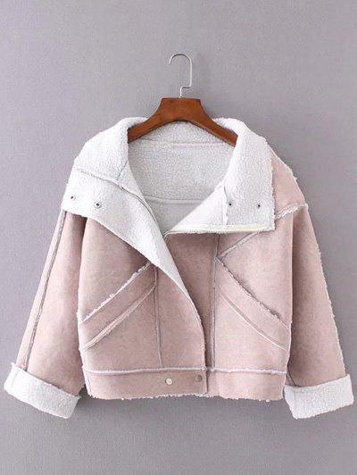 Faux Suede Fleece Trim Cropped Winter Jacket faux suede fleece lined winter coat