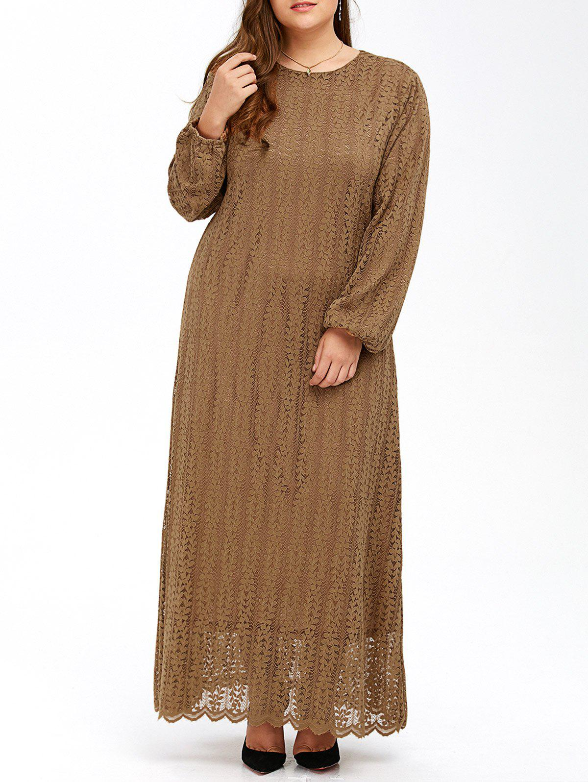 Manches bouffantes musulmane Lace Maxi Dress - Kaki 6XL