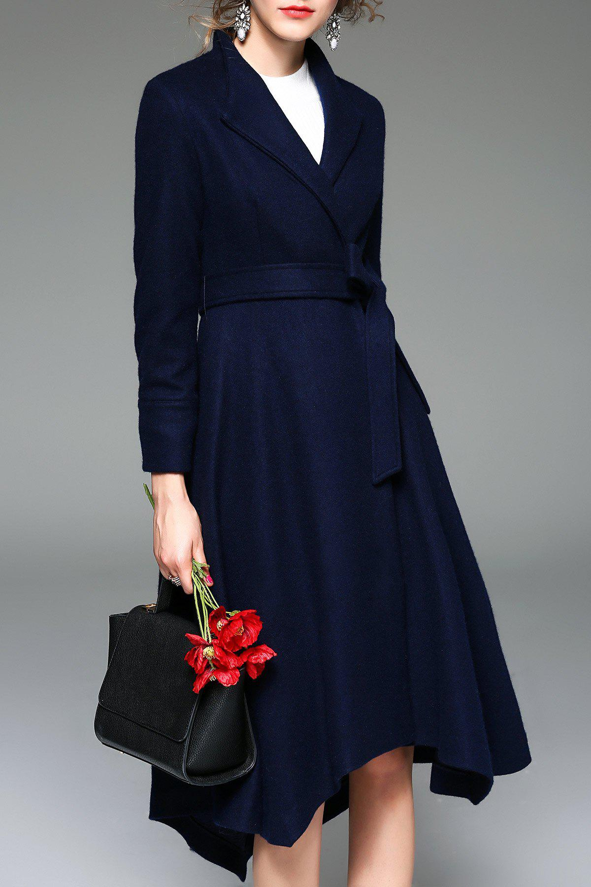 A Line Wool Blend Wrap Coat wool blend long a line wrap coat with belt