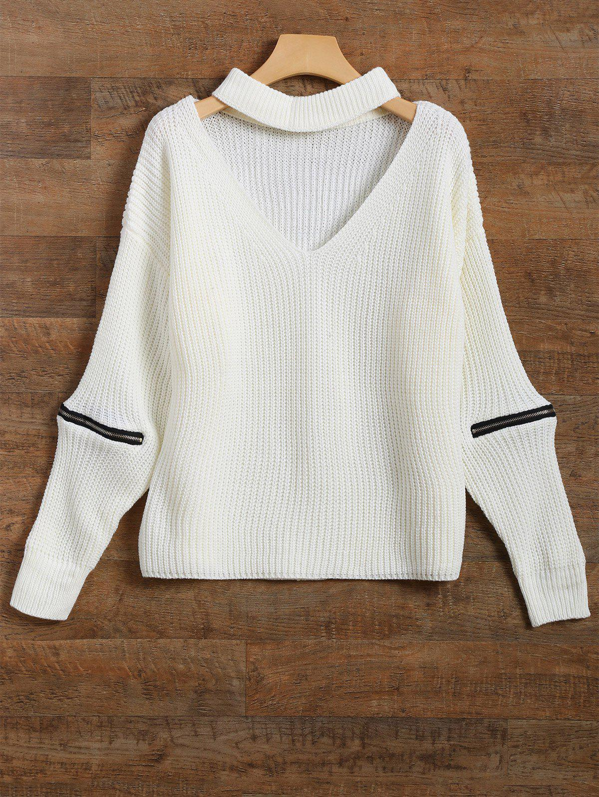 Zipper Ribbed Choker SwaterWomen<br><br><br>Size: ONE SIZE<br>Color: WHITE