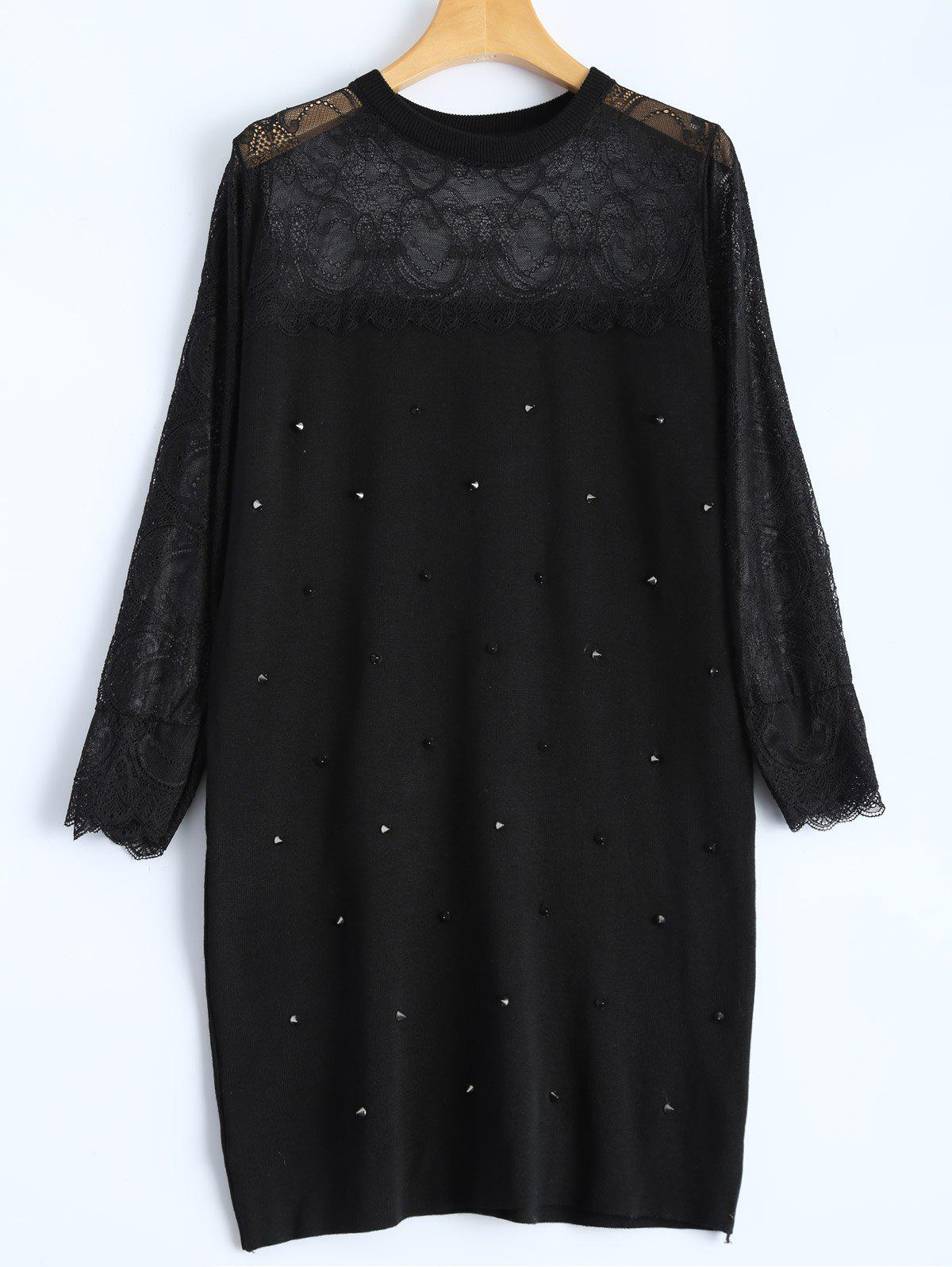 Slim Rivet Lace Insert Knit Dress - BLACK ONE SIZE