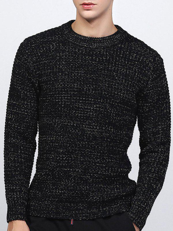 Texture Crew Neck Lurex Sweater - BLACK L