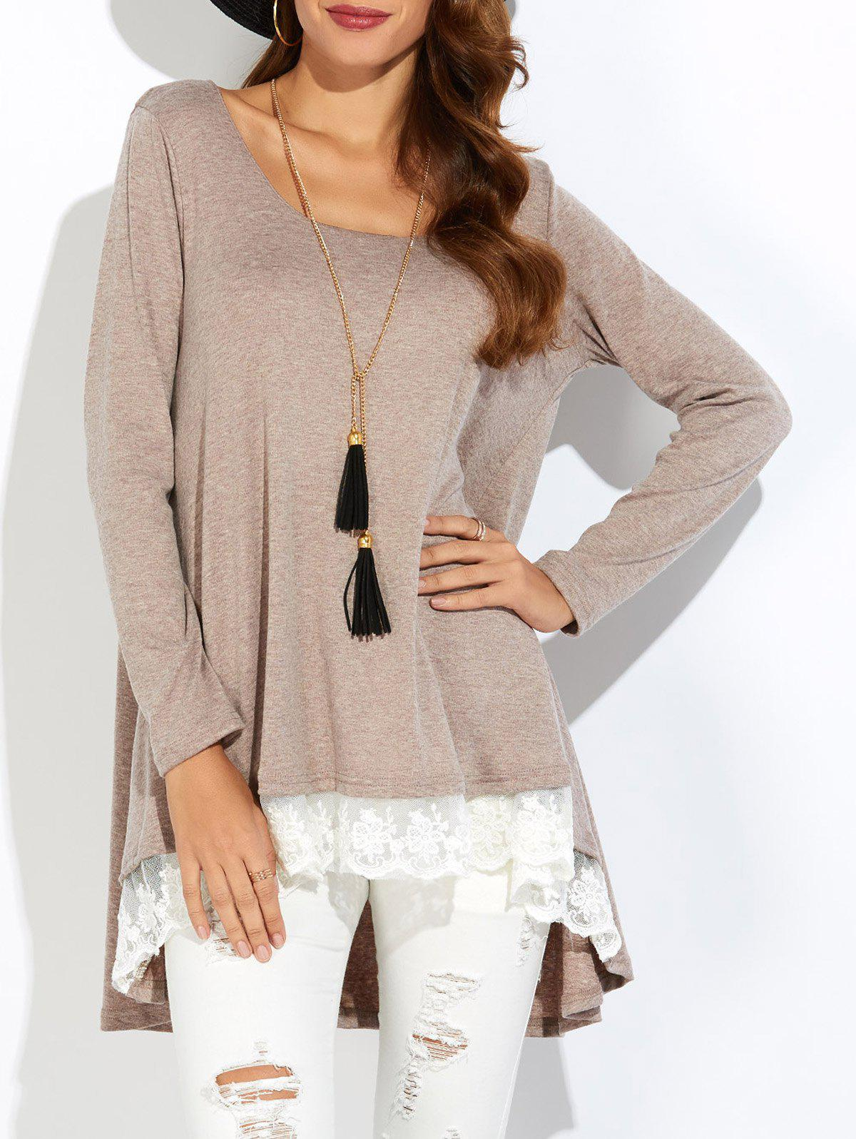 Lace Insert High Low T-Shirt - CAMEL XL