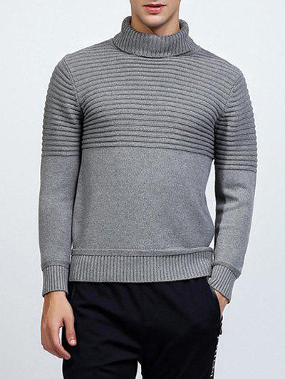 Ribbed Turtleneck Pullover Sweater - LIGHT GRAY 2XL