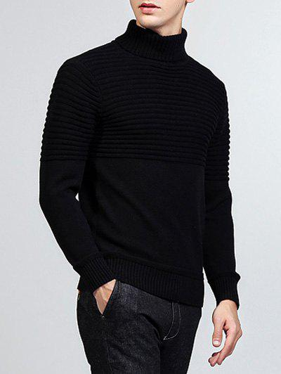 Ribbed Turtleneck Pullover Sweater - BLACK M