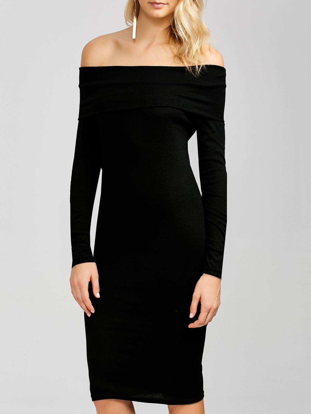 Long sleeve bodycon dress off the shoulder