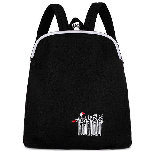 Canvas Kiss Lock Closure Embroidery Backpack - BLACK