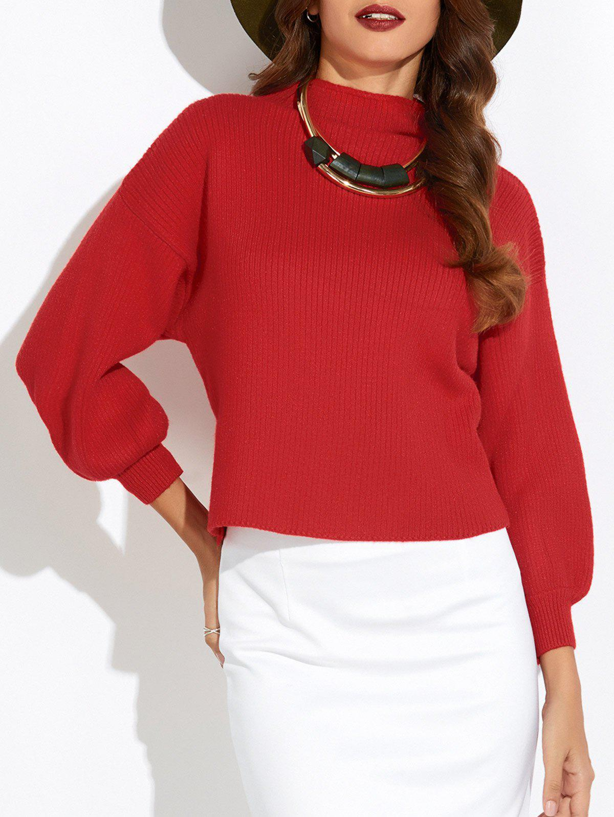 Puff Sleeve Mock Neck Sweater mock neck pearl detail puff sleeve tee