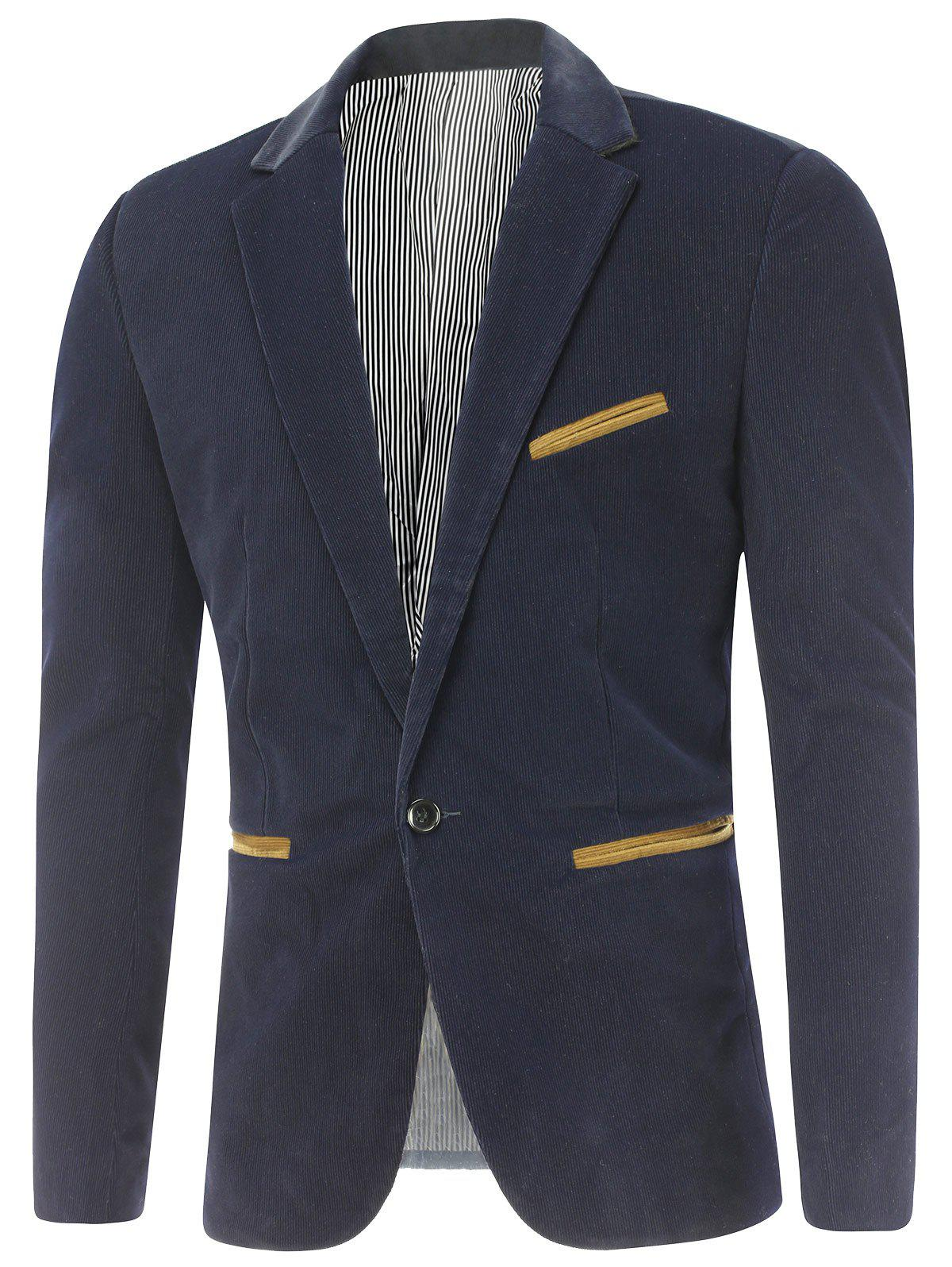 Notch Lapel Contrast Pocket Corduroy Blazer, Sapphire blue