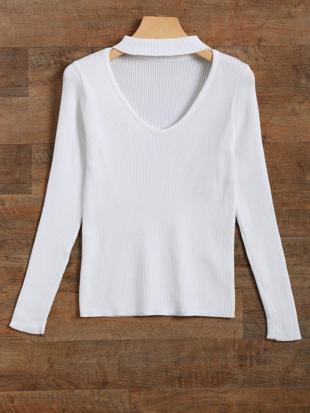 Cut Out V Neck Ribbed Choker Jumper - WHITE L