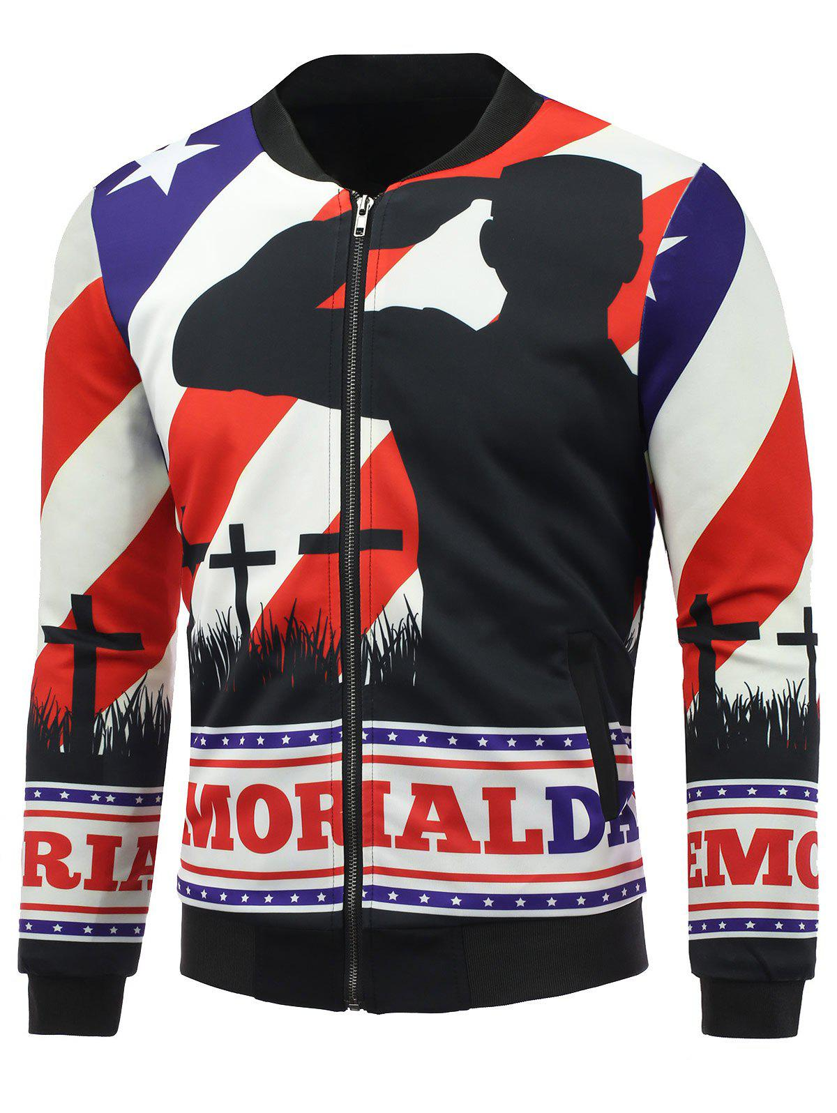3D Soldier and Flag Print Stand Collar Zip Up Padded Jacket - COLORMIX L