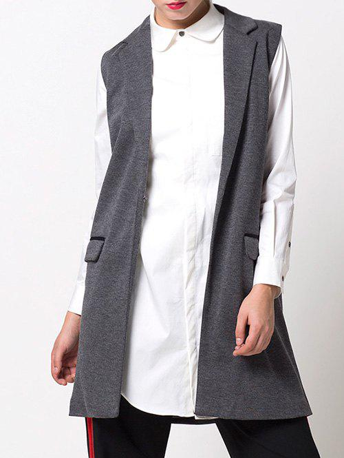 One-Button Fitting Waistcoat - GRAY S