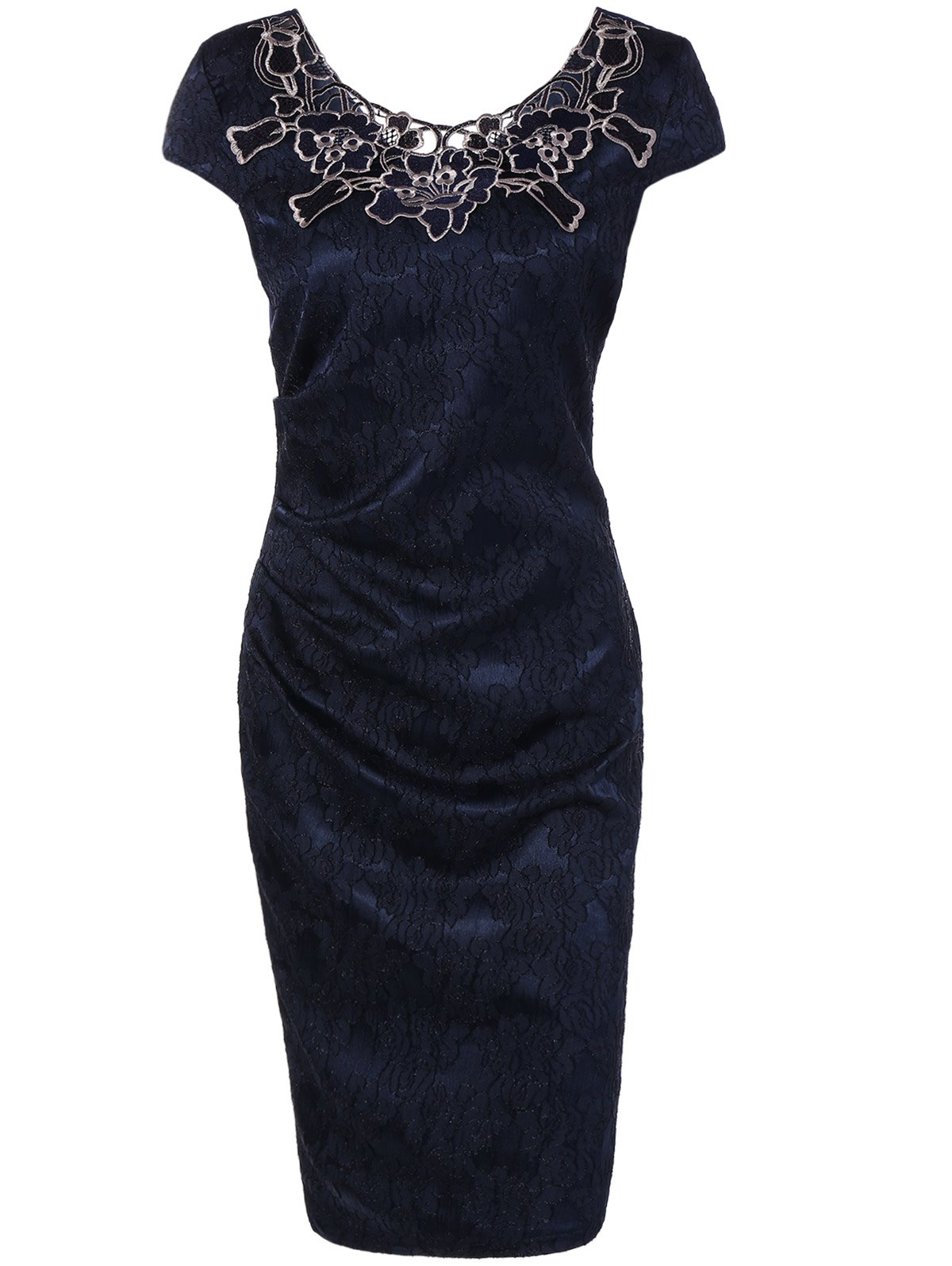 Flower Embroidery Lacework Insert Bodycon Dress skinny lacework slit bodycon dress