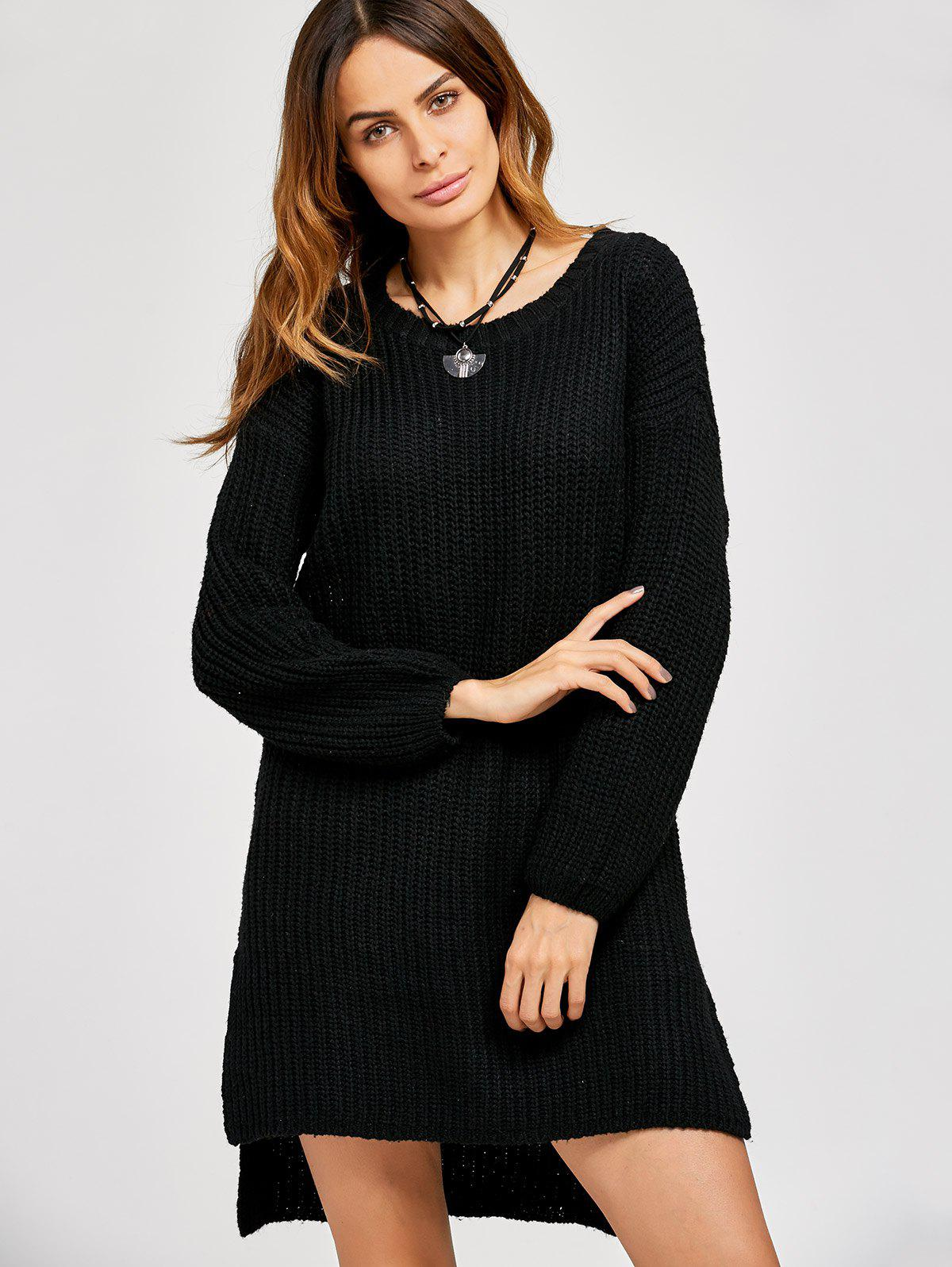 High Low Slit Sweater Dress - BLACK ONE SIZE