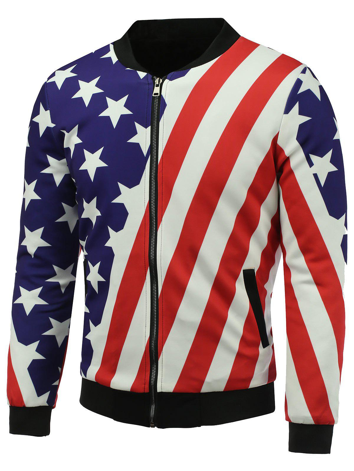 3D Stars and Stripes Print Stand Collar Zip Up Jacket rembourré - multicolore L
