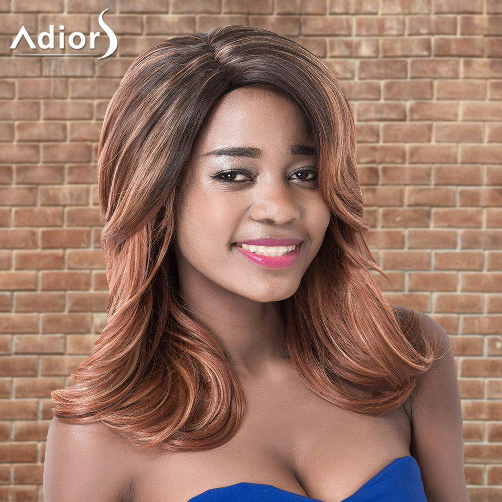 Adiors Medium Layered Ombre Side Parting Wavy Synthetic Wig adiors medium ombre side parting wavy shaggy synthetic wig