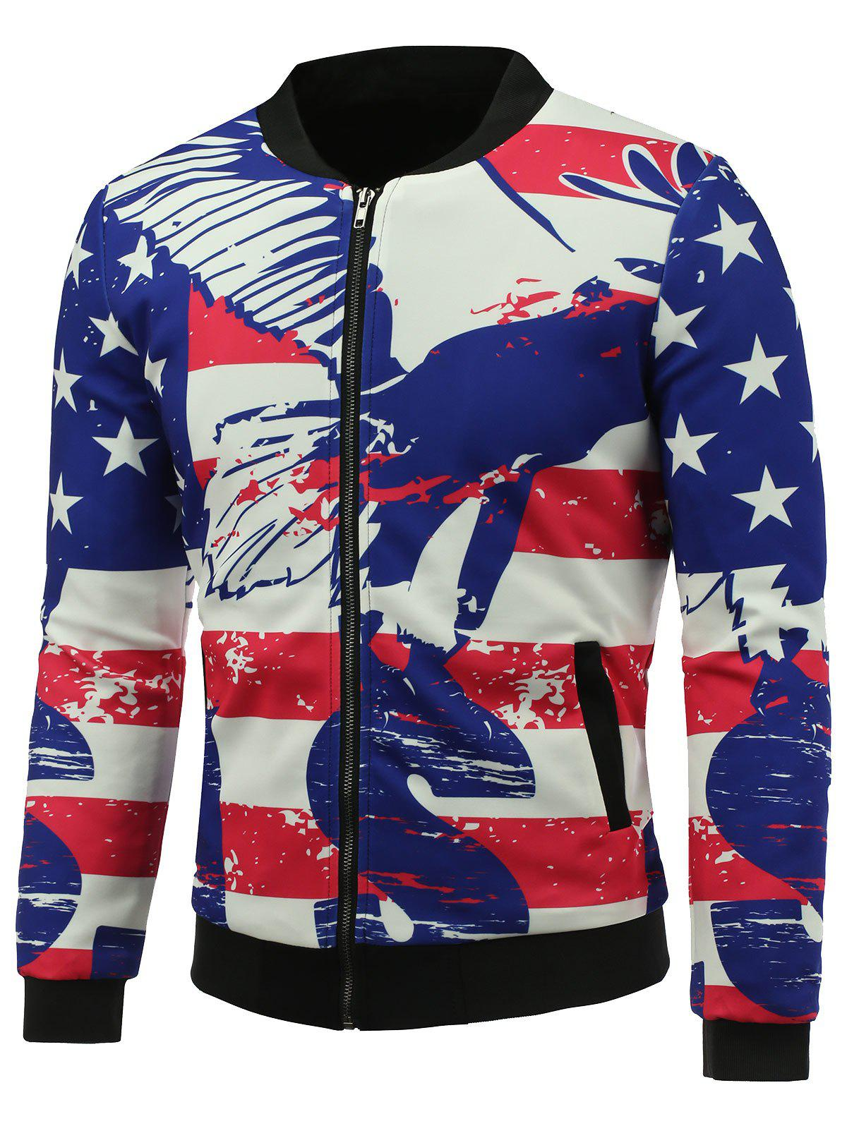 3D Abstract Stars and Stripes Print Stand Collar Zip Up Padded JacketMen<br><br><br>Size: 4XL<br>Color: COLORMIX