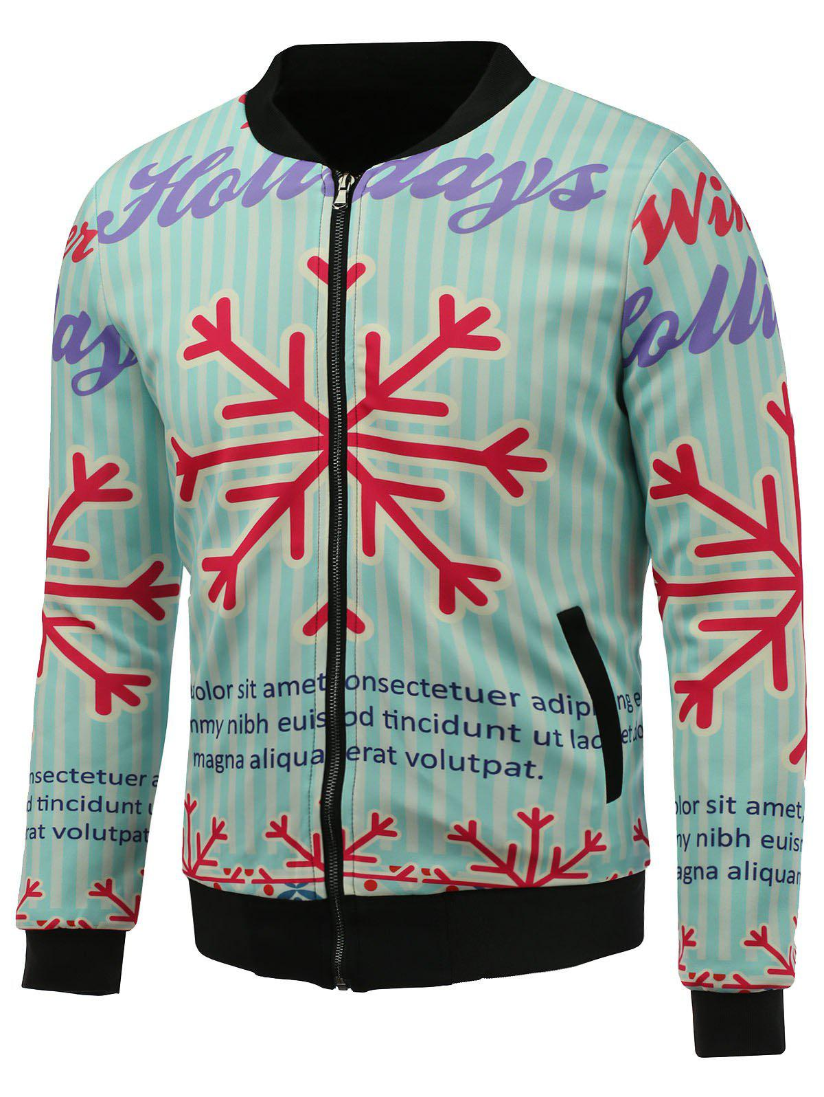 3D Christmas Snowflake Print Stand Collar Zip Up Padded JacketMen<br><br><br>Size: 3XL<br>Color: BLUE