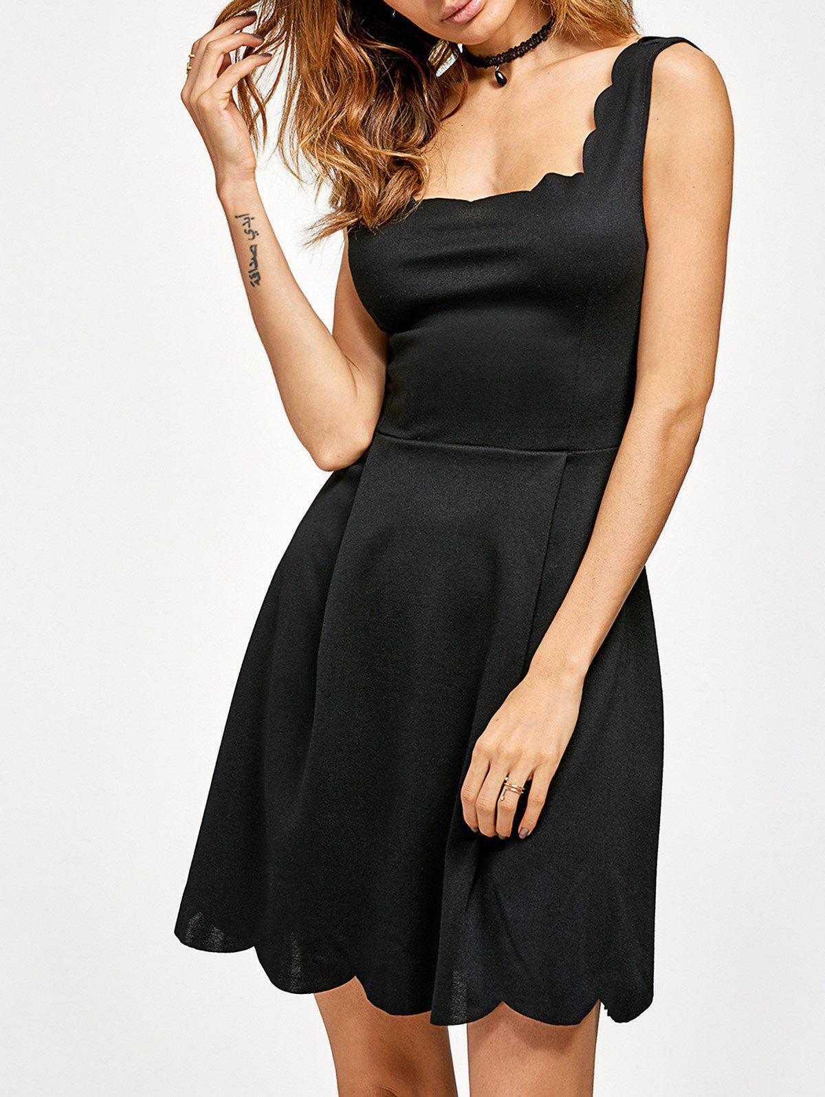 Scalloped Fit and Flare Dress - BLACK M