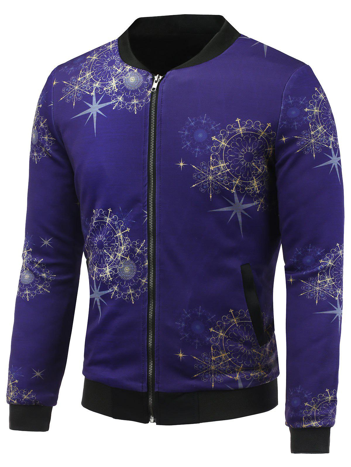 3D Palace Florals Print Stand Collar Zip Up Padded Jacket
