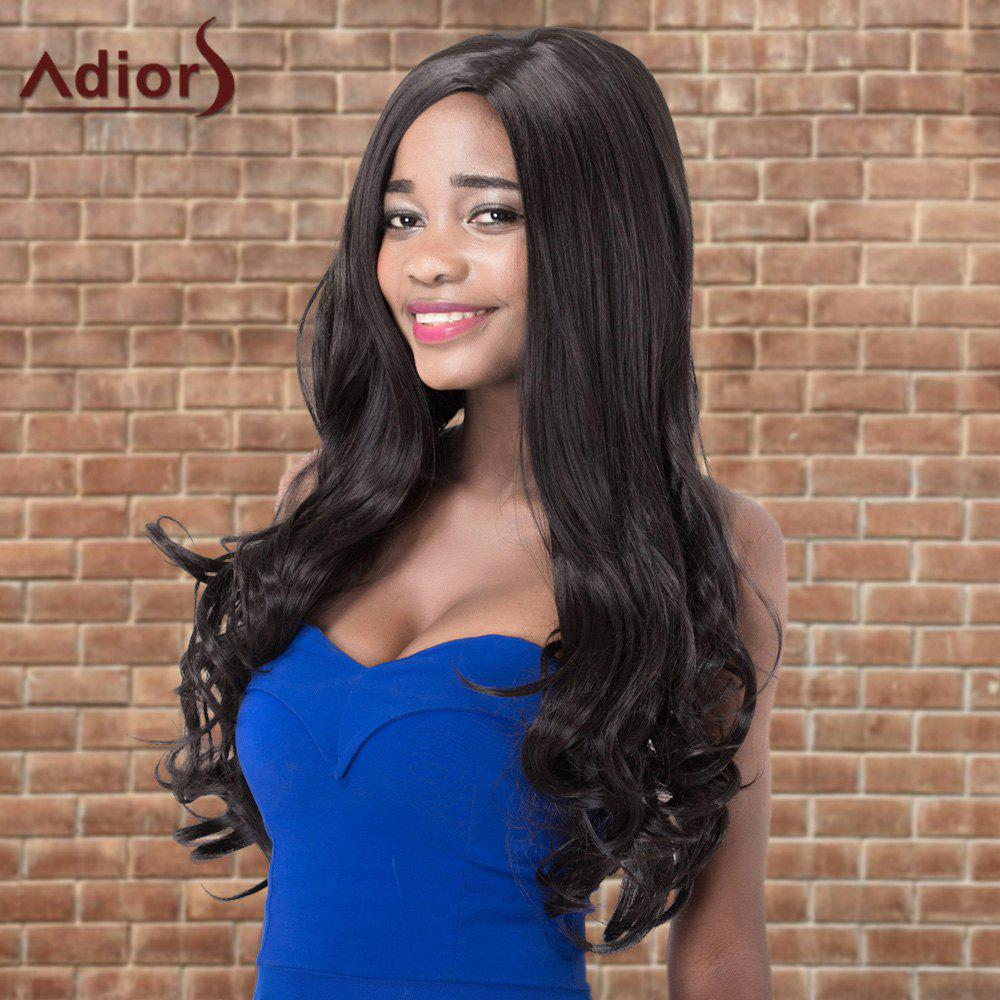Adiors Side Parting Long Shaggy Wavy Synthetic WigHair<br><br><br>Color: BLACK