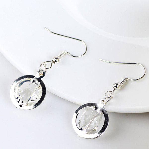 Faux Gem Circle Earrings - SILVER
