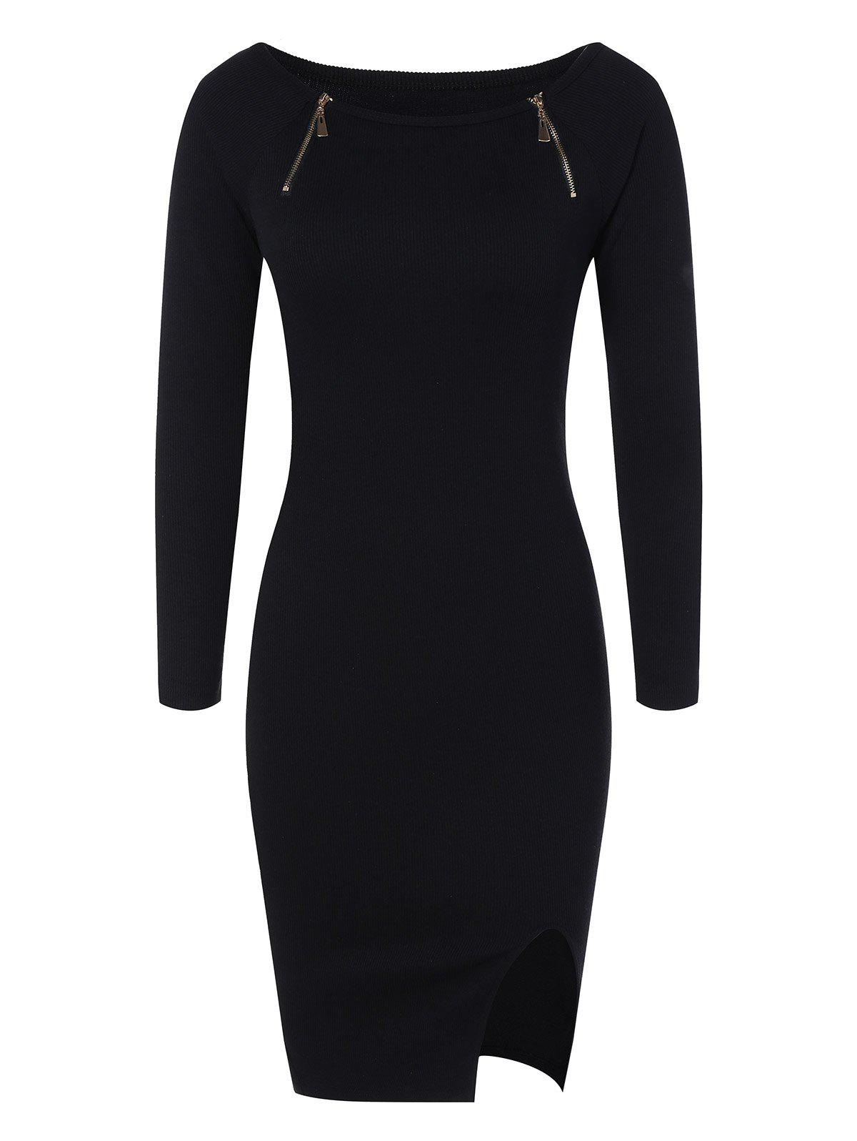 Zipper Embellished Stretchy Tight Dress брюки accelerate tight