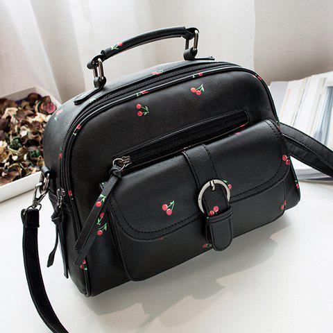 Buckle Strap Cherry Print PU Leather Handbag - BLACK
