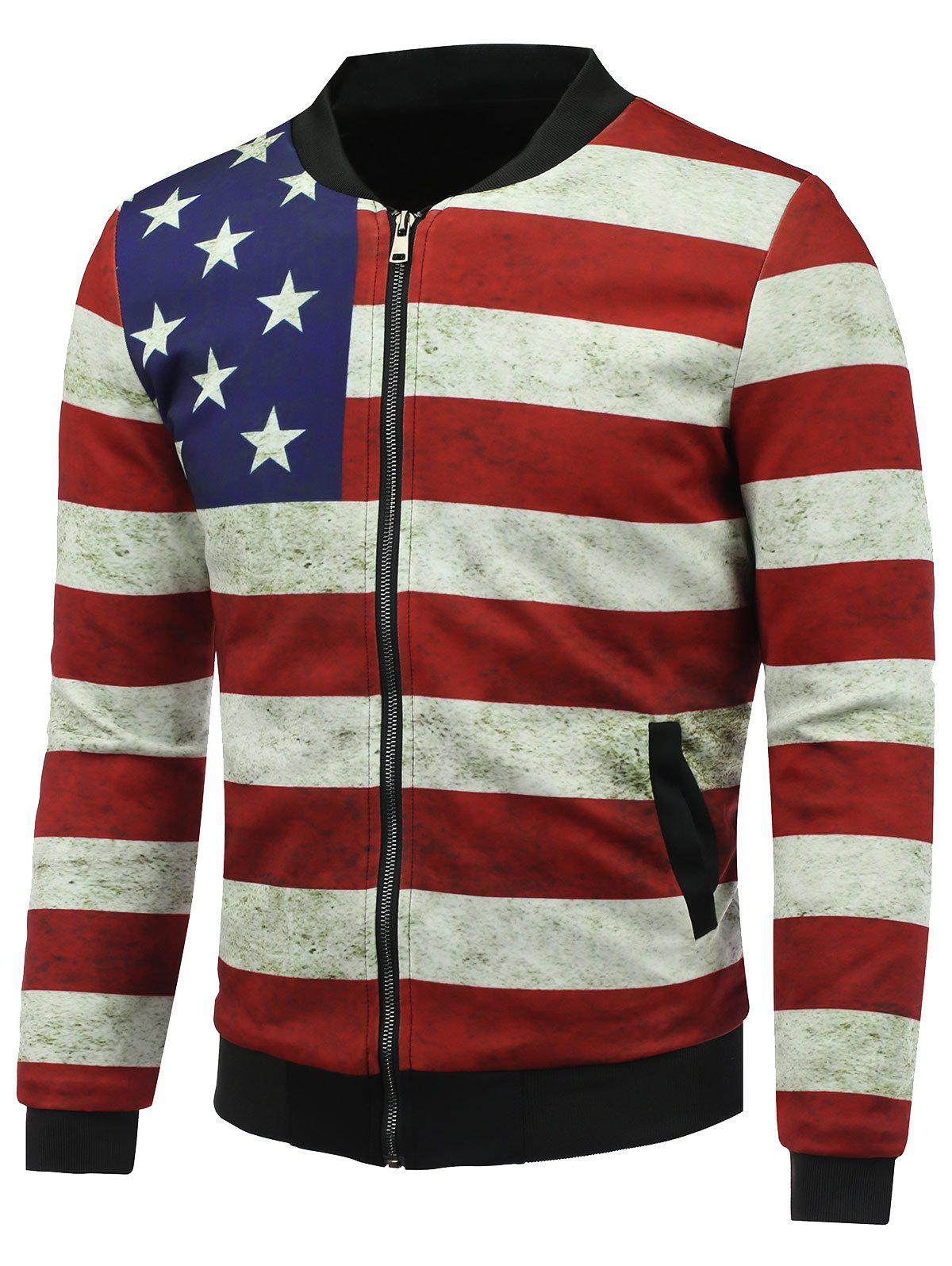 3D Rust Stars and Stripes Print Stand Collar Zip Up Jacket rembourré - multicolore M