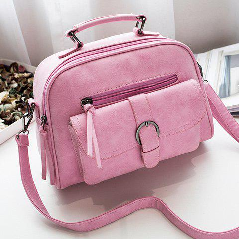 PU Leather Buckle Strap Handbag - PINK