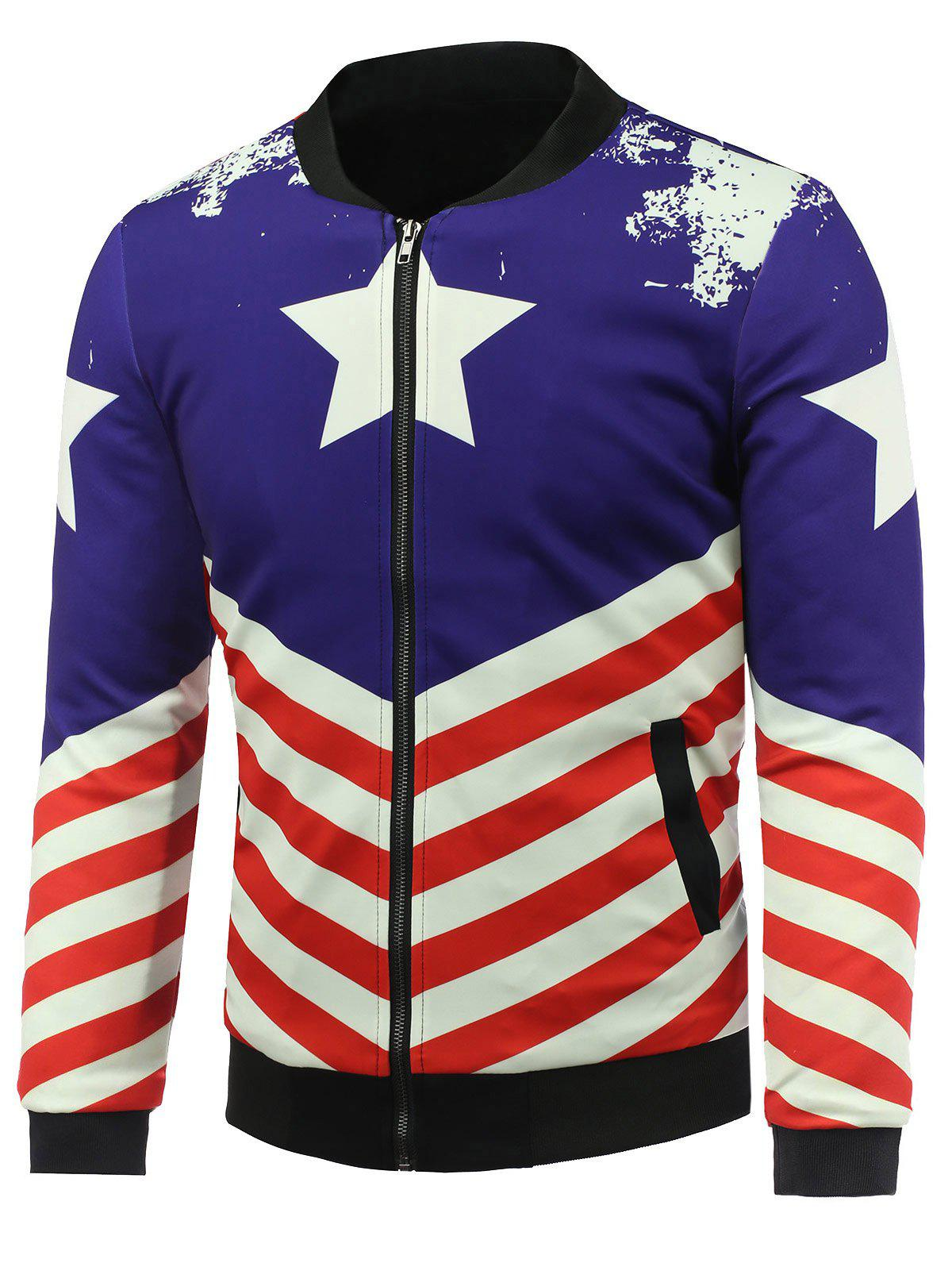 3D Stars and Striped Print Stand Collar Zip Up Padded Jacket