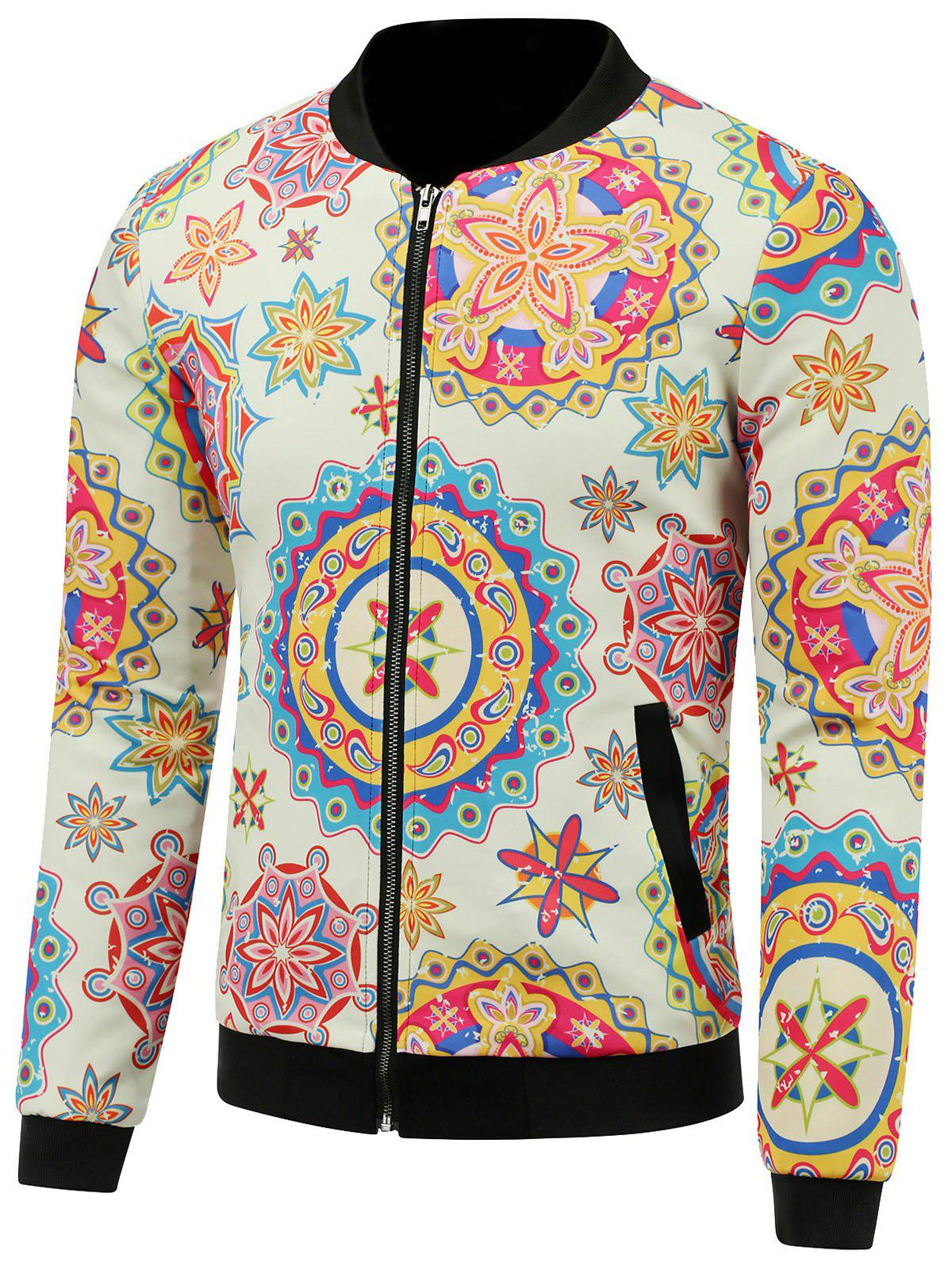 3D Colorful Palais Florals Imprimer stand Collar Zip Up Veste matelassée - multicolorcolore 3XL